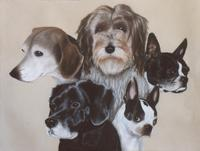 The Completed Portrait, With All Five Dogs